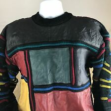 Vintage 80s 90s Saxony Mens Med Genuine Leather  Acrylic Wool Sweater