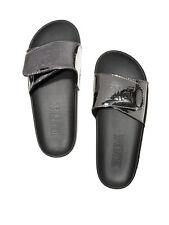 Pink Victoria's Secret Crossover Sandals Slide Slippers, Silver Gun, Large, NWT