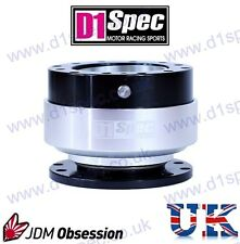 D1 SPEC UNIVERSAL RACING STEERING WHEEL QUICK-RELEASE SILVER/BLACK JDM DRIFT