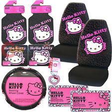 Hello kitty Car Seat Cover Accessories Set 10pc Collage w/ License plate Frames
