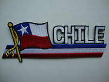 "NEW Chile Flag Cut Out Lettering 5"" x 2"" Iron On Patch Badge Ready Glue Flag"