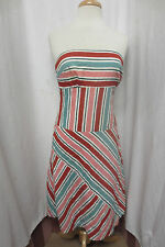 Tocca Bustier Strapless Dress Red Pink Awning Stripe Swing Skirt Sz 8