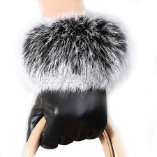 Women Black Leather Gloves Autumn Winter Warm Rabbit Fur Mittens Driving Gloves