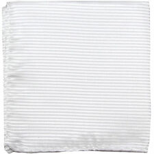 New polyester woven thin striped pocket square hankie handkerchief white formal