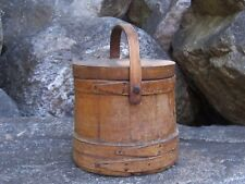 Antique Original Wooden Furkin Bucket Pail w/ Lid Primitive Farm Cabin Decor