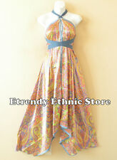 1D102 - Paisley Versatile Silk Multi Wear Scarf Long Maxi Halter Dress Maternity
