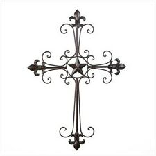 """large 24"""" Iron Wall hanging CROSS Religious Christian holy crucifix lone star"""
