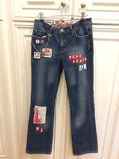 "WOMEN'S PEPE JEANS Size 28"" Rare JEANS LONDON UK PUNK ROCK Grunge DISTRESSED"