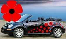 RED POPPY CAR CAMPER DECOR DECALS,STICKERS,GRAPHICS,FLOWER EASY APPLY DIY