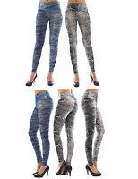 Damen Leggings lang hoher Bund Hose blickdicht Jeans-Muster Leggins