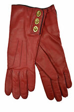 [83 10] COACH NWT WOMENS CHERRY RED F82825 TURN LOCK LEATHER CASHMERE GLOVES 7.5