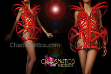 CHARISMATICO Madonna Inspired Red Vinyl or Leather Skeleton Corset Dress Costume