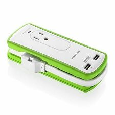 Poweradd 2-Outlet Portable Surge Protector Travel Charger with Dual Smart USB