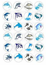 24 DOLPHIN DOLPHINS CUPCAKE TOPPER WAFER RICE EDIBLE FAIRY CAKE BUN TOPPERS