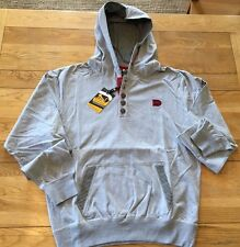 Men's grey  DRUNKNMUNKY heavy jersey, btn placket, stripe lined hood,Large