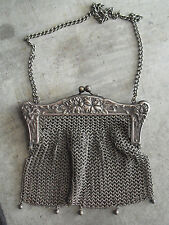 Antique Early 1900s German Silver Mesh Womens Purse Handbag #2 LOOK