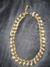 SIGNED MONET LARGE DOUBLE LINK GOLD TONE NECKLACE