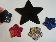 5 star sequin applique patch motif iron sew on embellishment hotfix craft UK