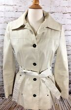 Calvin Klein Khaki Trench Coat Size XS Single Breasted Belted Button Down Jacket
