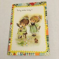 Vintage Greeting Card Get Well Patchwork Cute Kids Girls Mirror Brush