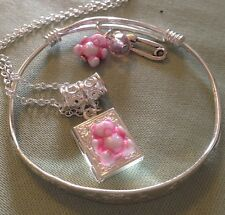 "Pink Ted Locket&pin Charm//Sterling Silver . 16""Chain/925 Slender Bangle/bxd."