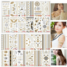24 Piece Temporary Metallic Tattoo Gold Silver Black Body Hand Tattoos Sticker
