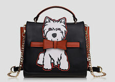 Unique Quirky Retro Scottie Westie Dog Terrier Faux Leather Square Handbag