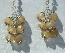 Vintage Sterling Earrings, 6mm Natural Facetted Citrine Beads, Konder #970
