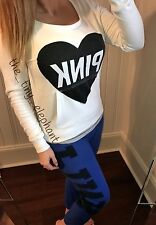 Victoria Secret Pink Logo White Pullover Sweatshirt Blue Sweatpants Sweats Set S