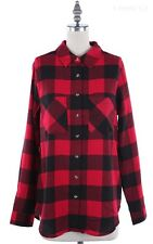 Plaid Long Sleeve Button Down Flannel Shirt with Front Chest Pockets S M L