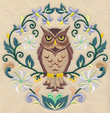 OWL SWEET SYMMETRY NEW SET OF 2 BATH HAND TOWELS EMBROIDERED BY LAURA