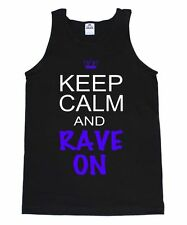 KEEP CALM AND RAVE ON EDC EDM CONCERT DJ MOLLY ELECTRO DUBSTEP MUSIC TANK TOP