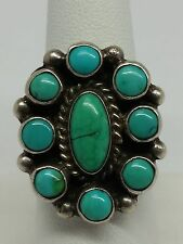 Arnold Maloney NAVAJO Artist Sterling Silver Turquoise Cluster Ring Size 8