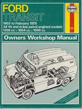 FORD TRANSIT MK1 1.6 1.7 2.0 LITRE PETROL 1965 - 1978 OWNERS WORKSHOP MANUAL