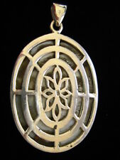 Sterling Silver openwork back Art Nouveau Deco Mother of Pearl Big Oval Pendant
