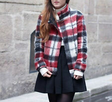 ZARA RED CHECKED PATTERN WOOL BIKER JACKET COAT SIZES XS, M & L