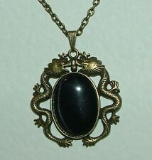 MYSTICAL DARK GOLD PLATED DRAGON PENDANT WITH BLACK GLASS STONE TRACE CHAIN 18""