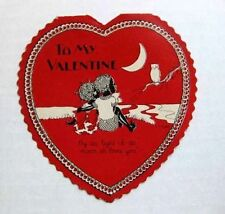 1930s Valentine's Day Card w/ Black Couple in Moonlight