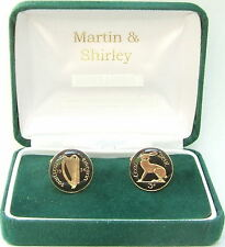 1934 Old IRISH 3D cufflinks real coins in BLACK & GOLD