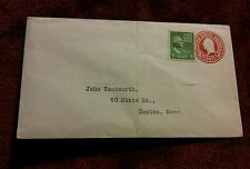 000 Unpostmarked Envelope W/ 1 Cent Green Washington 2 Cent Red Prepaid Boston