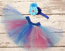 Baby Girl Aqua Blue Tutu Skirt & Flower Headband Photo Prop Costume Outfit 0-6m