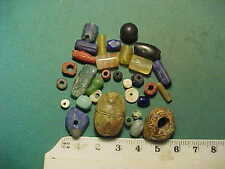 30+ ancient beads circa 1000 BC-700 AD + Egyptian  scarab  amulet