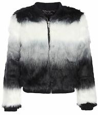 New Womens Collared Pile Color Block Striped Thick Fur Bomber Jackets 8-16