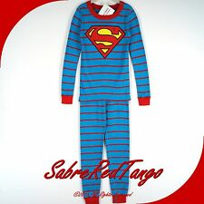 NWT HANNA ANDERSSON ORGANIC LONG JOHNS PAJAMAS DC COMICS SUPERMAN 120 6 7