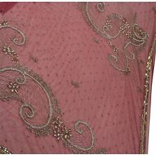Vintage Indian Saree Net Mesh Hand Beaded Pink Fabric Glass Beads Cultural Sari