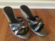 AUTHENTIC Burberry Nova Plaid Espadrille Wedge Sandals Shoes - sz 37.5 / 7.5 US