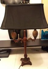 "31"" Double pineapple table lamp on brown faux wood base - with Black shade"