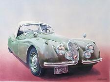 Original W/C and Gouache by Honey W. Kurlander 1954 Jaguar Automobile