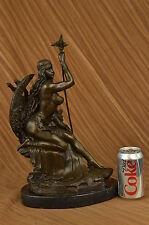 """Signed """"Amazon"""" Nude Woman With Sword Bronze Statue Sculpture Art Decor Figurine"""