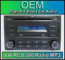 VW RCD 200 MP3 CD player radio, Polo car stereo head unit with radio code